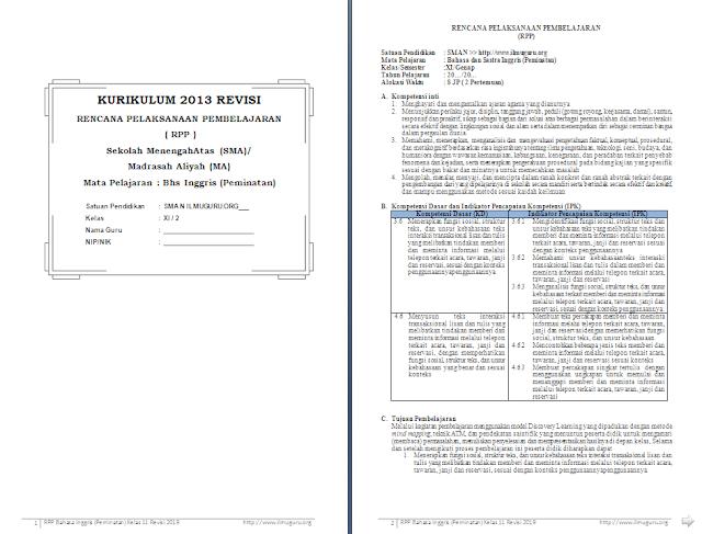 RPP 1 Lembar Bahasa Inggris Peminatan Kelas 11 SMA/MA Semester 2
