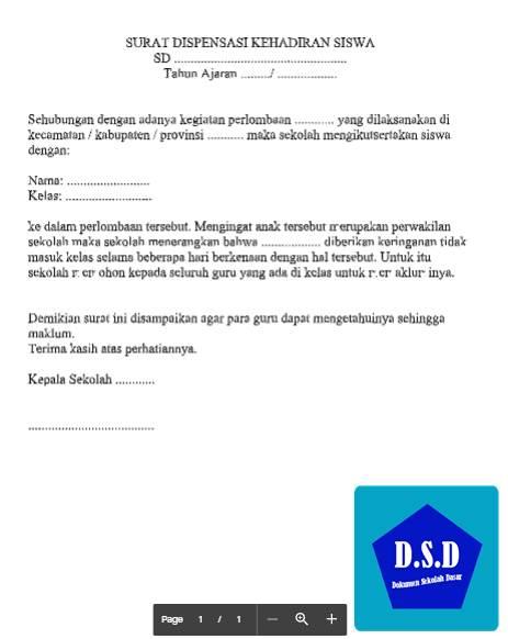 Contoh Surat Dispensasi Blog Pendidikan