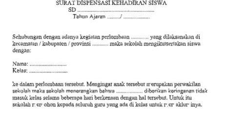 Surat Dispensasi Kehadiran Siswa Dokumen Sekolah Dasar