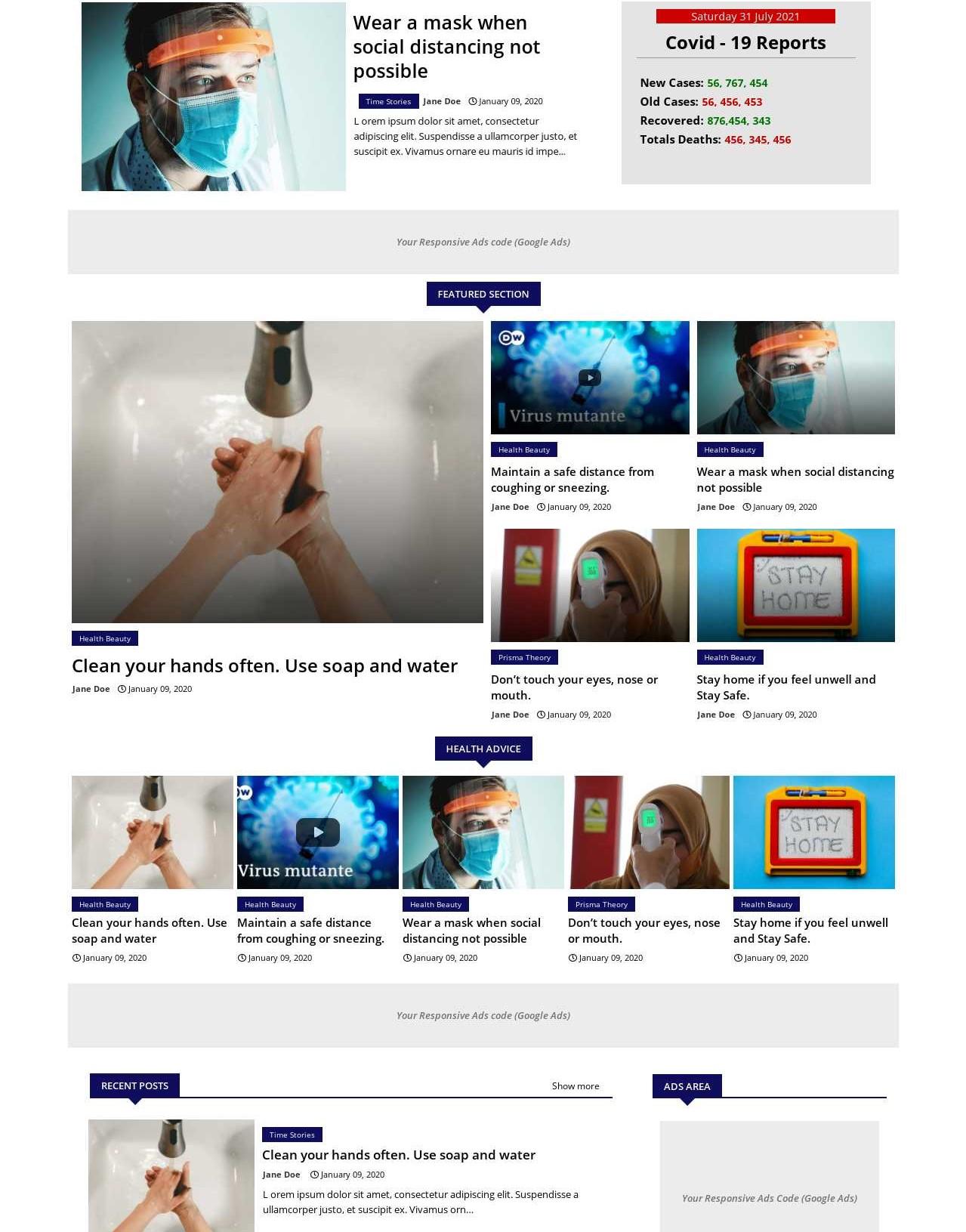 Cov 19 News  Health And Advanced Blogger Template