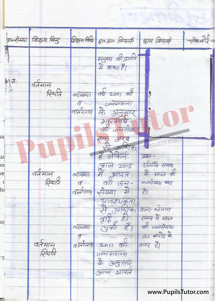 jansankhya vridhi par Lesson Plan in Hindi for BEd and DELED