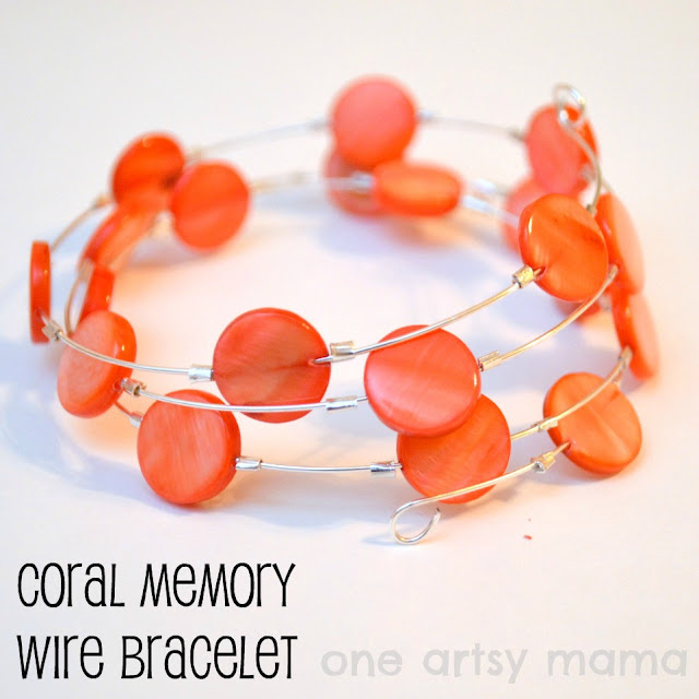 coral memory wire shell bead bracelet