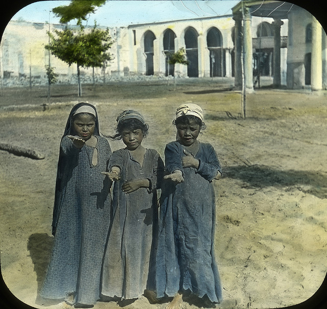 Egyptian Girls, Old Cairo. Slide colored by Joseph Hawkes. Brooklyn Museum Archives.