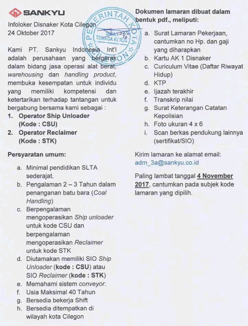 Loker PT Sankyu Indonesia International
