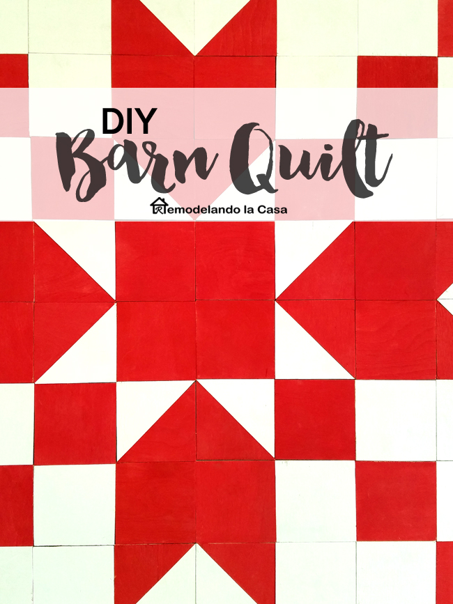 "red and white wooden barn quilt made out of ¼"" plywood material"