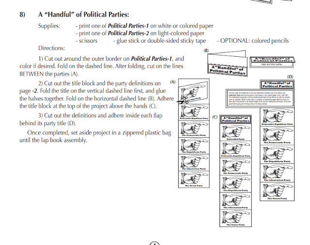 "screenshot of directions to make A ""Handful"" of Political Parties lap-pak activity"