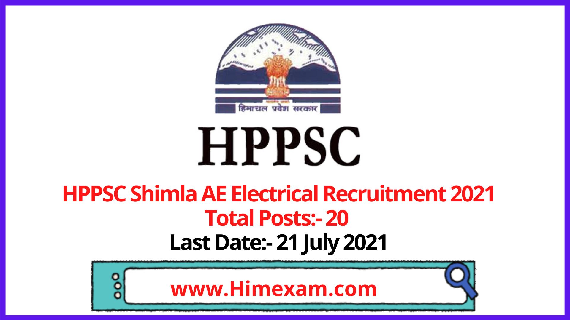 HPPSC Shimla AE Electrical Recruitment 2021