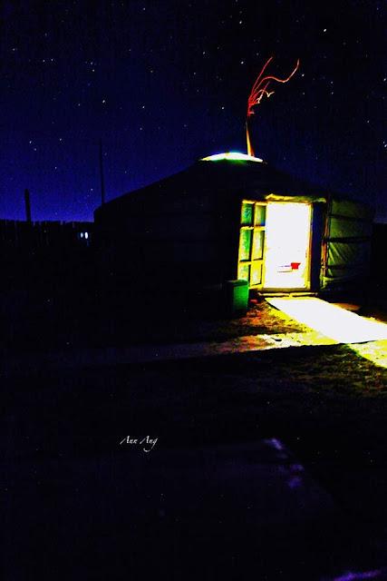 Mongolian ger and a night sky, Kharkhorin, Mongolia