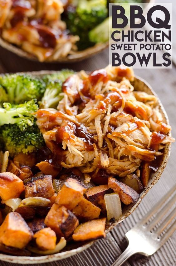 BBQ Chicken & Roasted Sweet Potato Bowls
