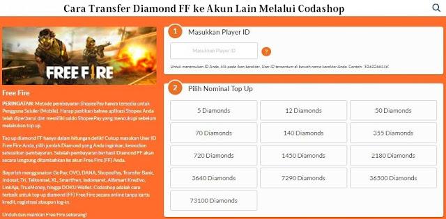 Cara Transfer Diamond FF ke Akun Lain melalui Via Codashop