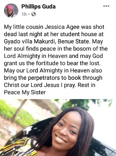 Sad! Female student of Benue State University killed by gunmen