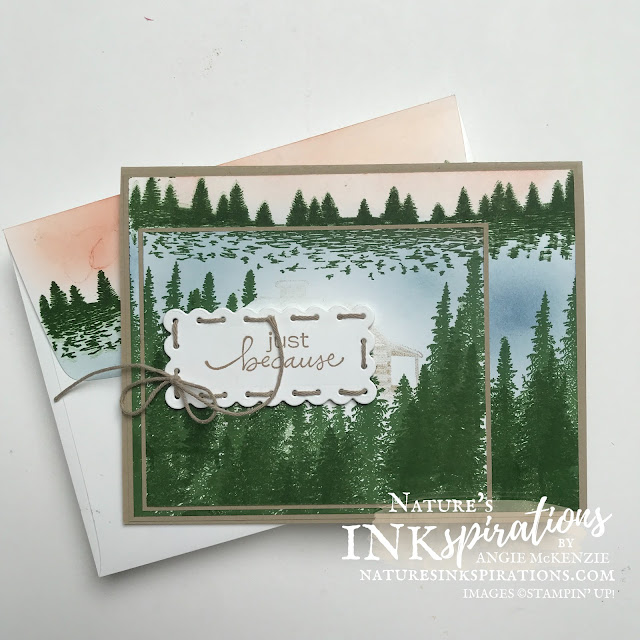 By Angie McKenzie for the Crafty Collaborations Vacation Blog Hop; Click READ or VISIT to go to my blog for details! Featuring a SNEAK PEEK of the upcoming Peaceful Cabin Cling Stamp Set along with the Mountain Air Photopolymer Stamp Set and Lovely You Cling Stamp Set by Stampin' Up!; #justbecausecards #mentalvacation #stamping #peacefulcabin #mountainair #lovelyyou #scallopedcontourslabel #20212022annualcatalog #naturesinkspirations #makingotherssmileonecreationatatime #cardtechniques #stampinup #stampinupink #handmadecards