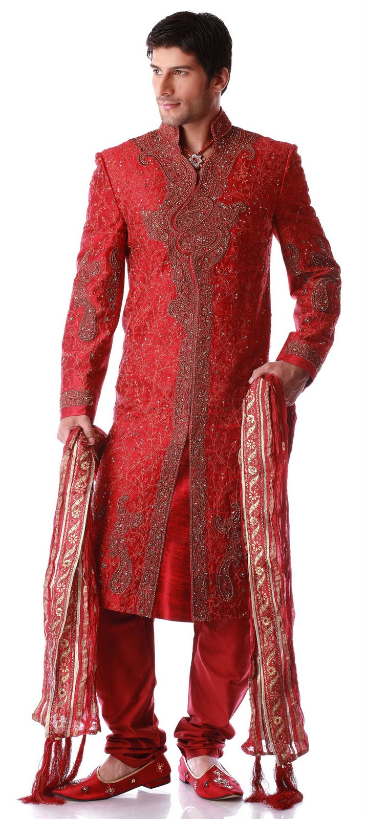 men fashion dresses red dragon neck sherwani   men s