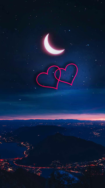 love Iphone wallpaper night moon