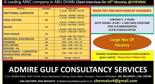 GULF INTERVIEWS AT TAMILNADU & KERALA 6-6-2019 – GCC JOBS