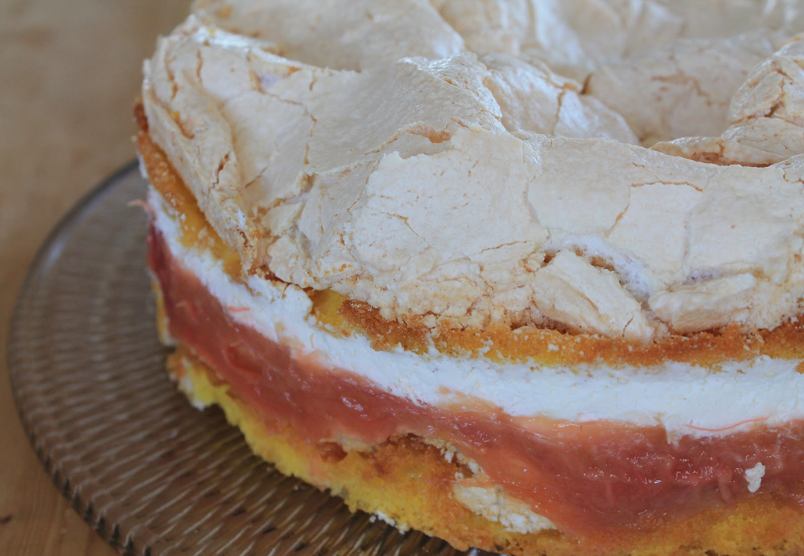 Svenja S Koch Und Backblog Erdbeer Rhabarber Torte Mit Baiser