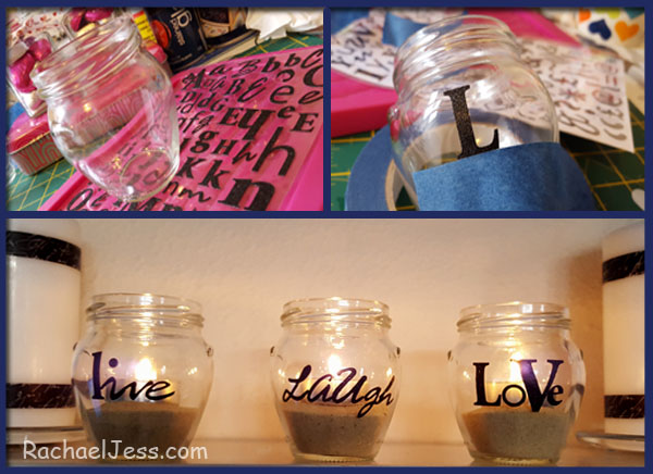 creating messages from scrapbooking stickers on jars ideal for weddings and valentines day