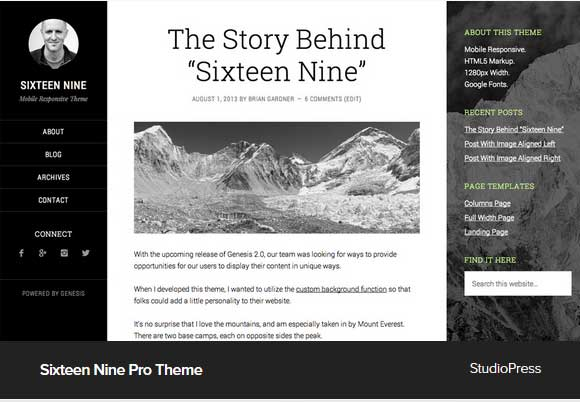 Sixteen Nine Pro Theme Award Winning Pro Themes for Wordpress Blog : Award Winning Blog