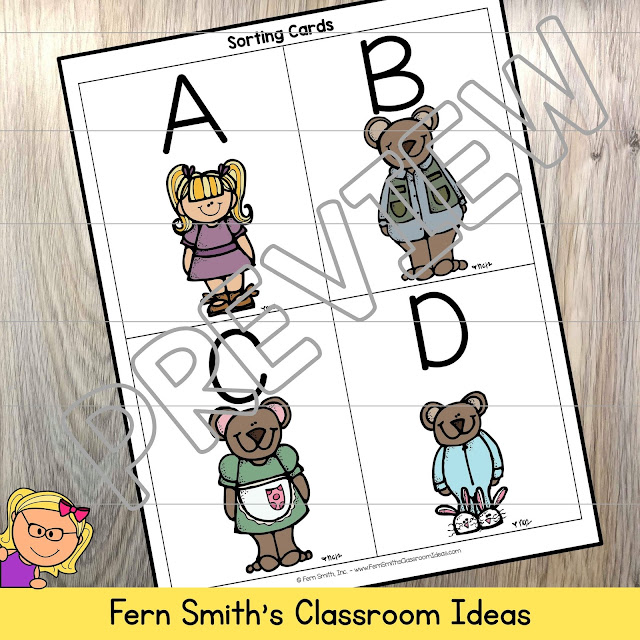 Fern's Freebie Friday - Goldilocks and the Three Bears for Kindergarten Week 3, Small Group, Seat work & Centers Freebie!