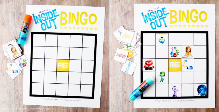 Free Printable Inside Out Bingo at artsyfartsymama.com #InsideOutMovieNight