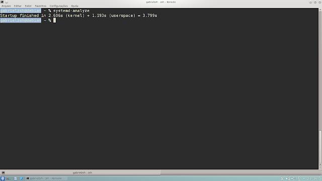 Nessa eu mostro quanto tempo levou o processo de boot do sistema.
