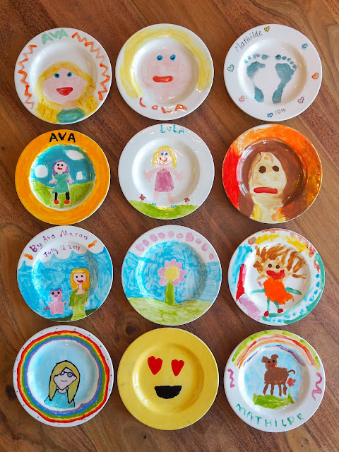 Decorated plates from Brushstrokes Studio