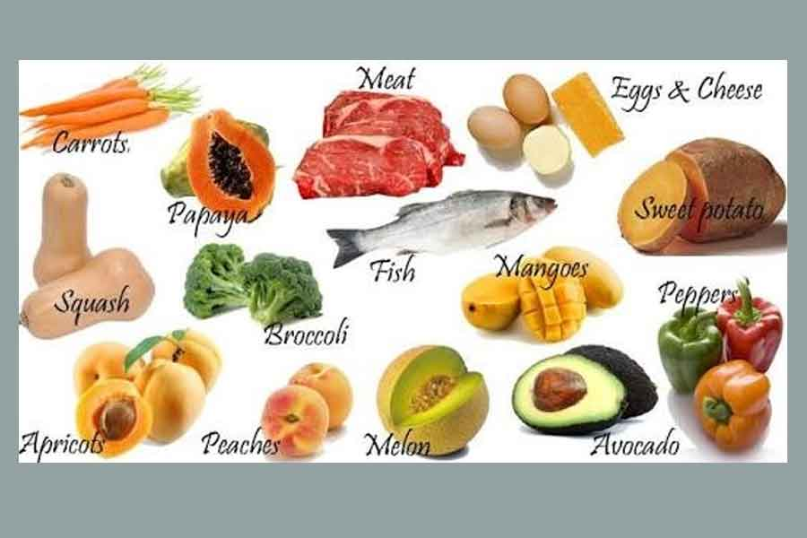 protein hewani dan buah-buahan mengandung banyak vitamin A
