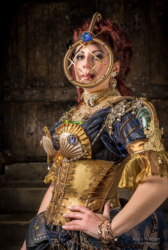 Steampunk deep sea diver crossed with a mermaid, costume cosplay includes diving mask headpiece, corset, shell bra, tubes and more. women's steampunk fashion and clothing