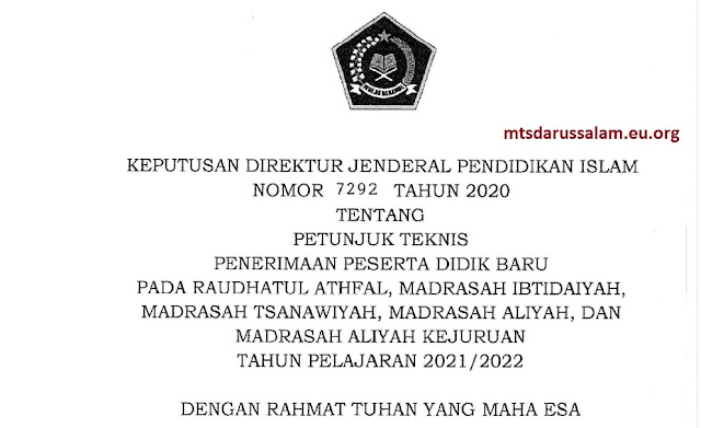 Juknis PPDB RA MI MTs MA MAK Tahun Pelajaran 2021/2022