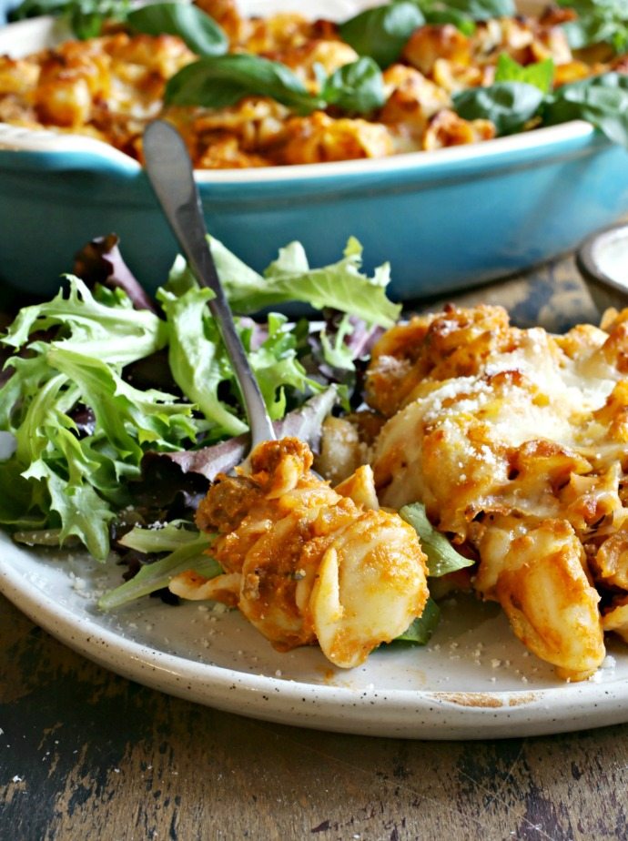 Recipe for a ground beef, pureed pumpkin and pasta bake with mozzarella and Parmesan cheeses.