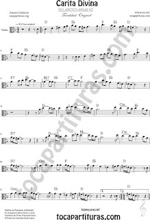 Partitura de Carita Divina Viola Partitura Sheet Music for Viola Music Score