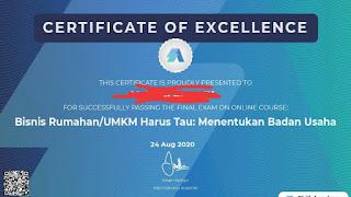 Contoh Certificate of Excelent pelatihan kartu prakerja di Skill Academy