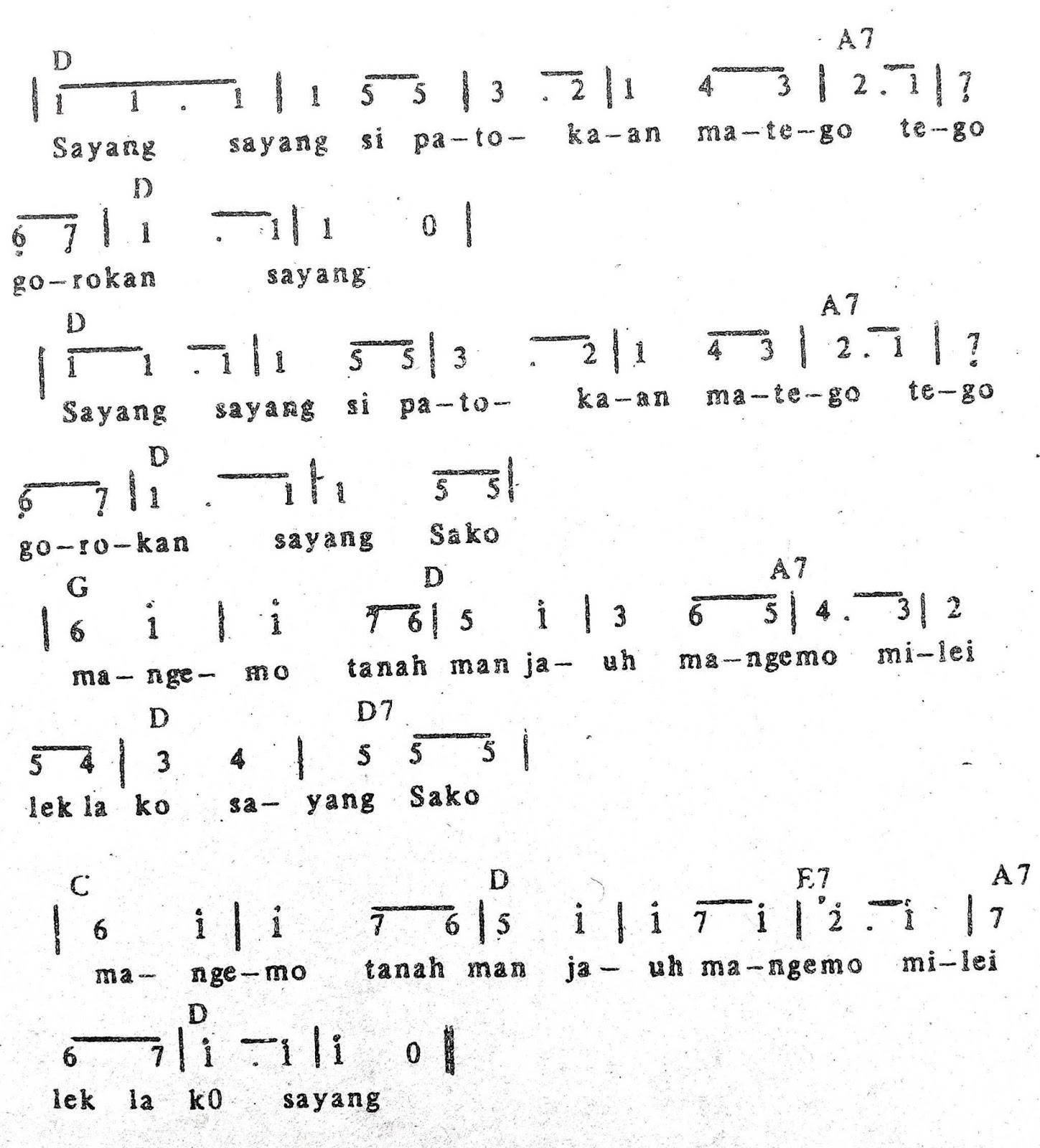 Chord & Arti Lirik Lagu Sulawesi Utara: Si Patokaan + Not Angka