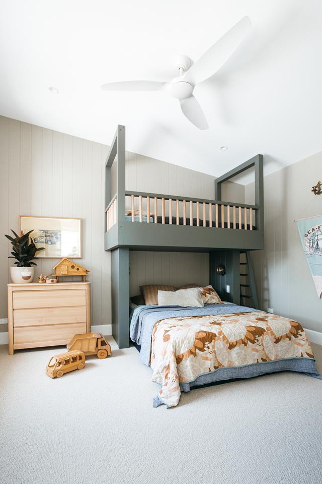 Custom green children's bunkbed