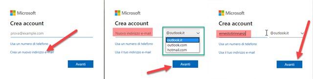 come creare un indirizzo email microsoft