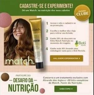 Condicionador Grátis O Boticário Match Nutrição - Cadastro Pegar na Loja