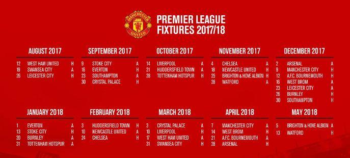 Jadwal MU Liga Inggris 2017-2018