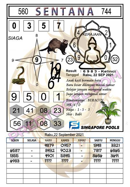 Syair Sentana Singapura Rabu 22-September-2021