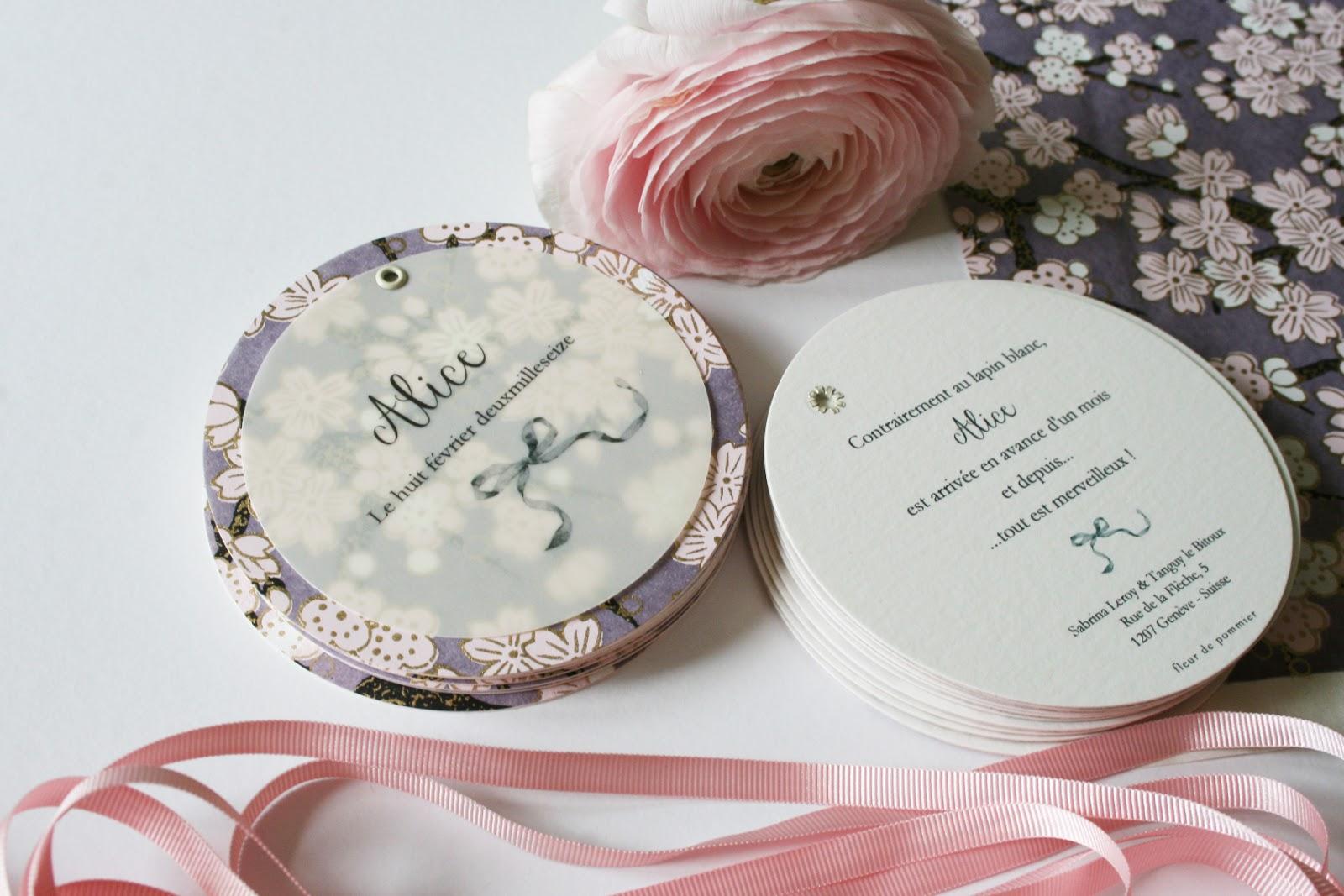 fleur de pommier dans son atelier faire part de naissance romantique et merveilleux pour alice. Black Bedroom Furniture Sets. Home Design Ideas