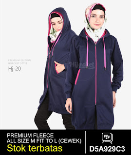 jaket muslimah panjang lutut biru pink