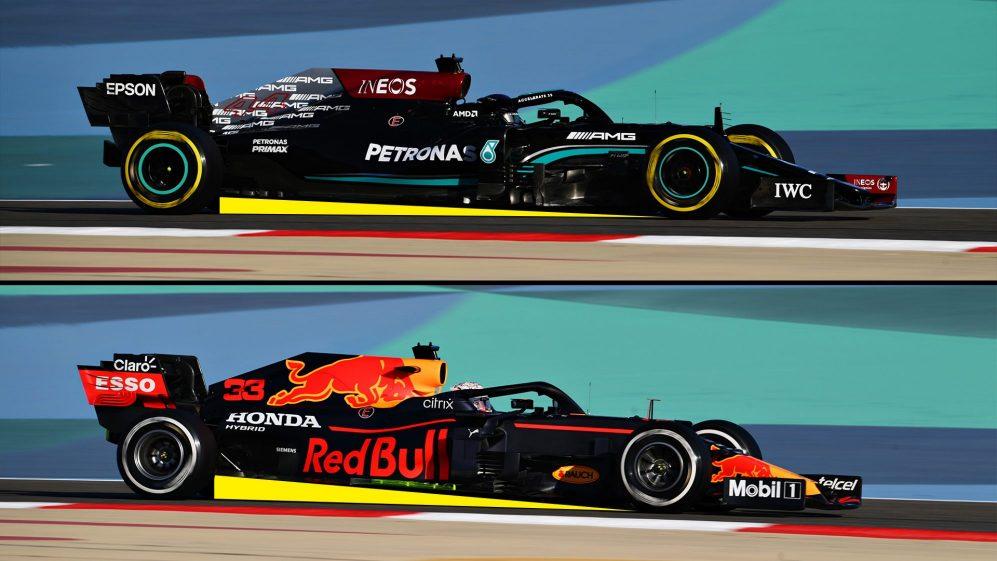 Ilustrando a diferença de rake entre os carros Red Bull e Mercedes