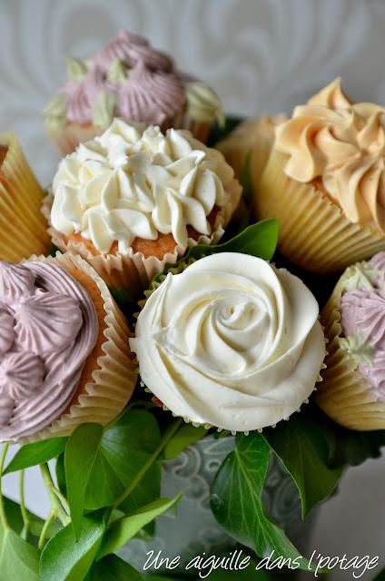 Bouquet de cupcakes (ganache montée chocolat blanc)