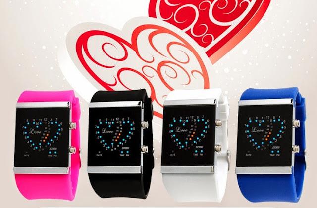 Đồng hồ cặp led hình trái tim