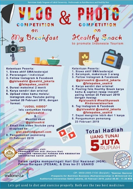 Lomba Vlog & Photo Competition 2019 SMA Sederajat Gratis