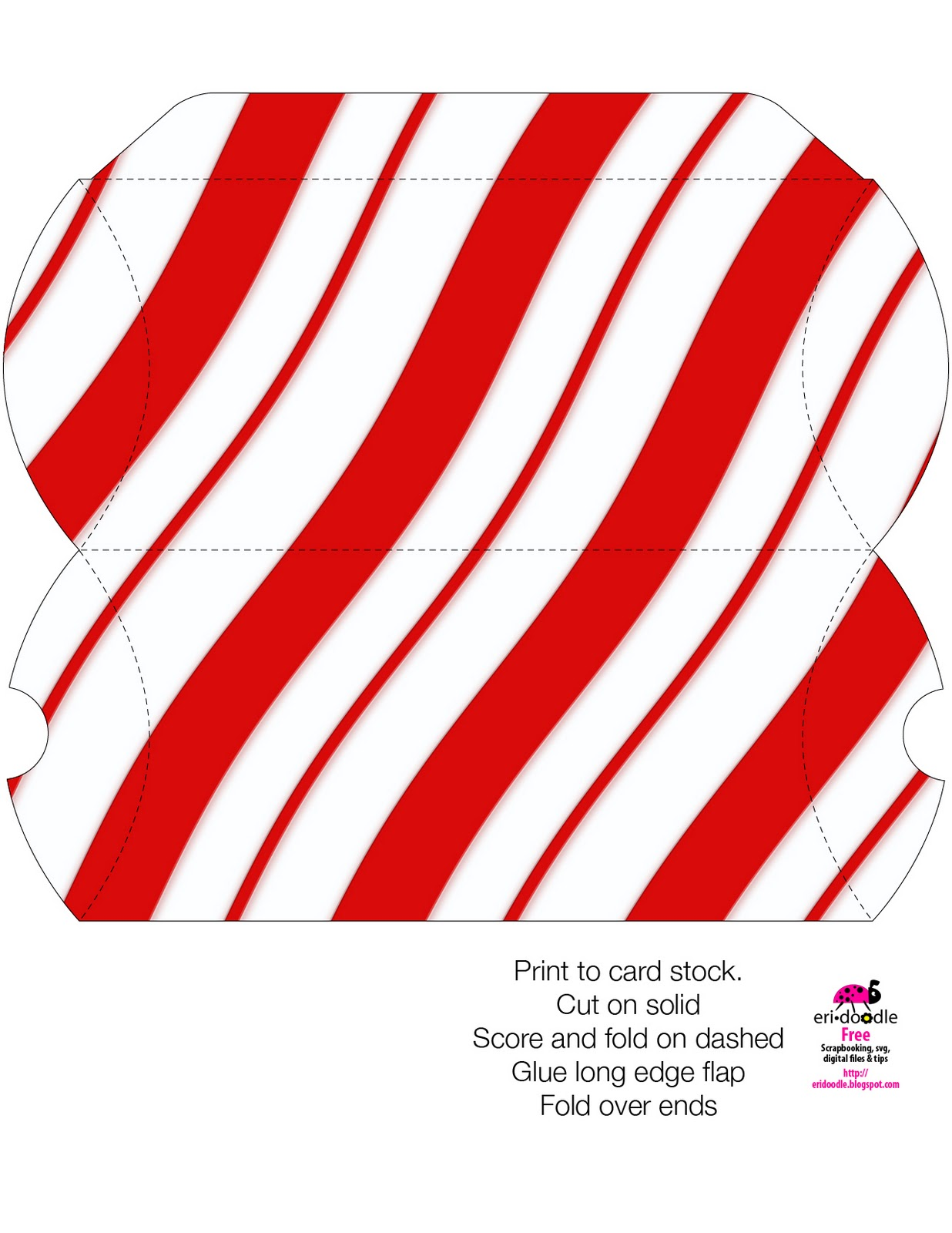 Eridoodle Designs And Creations Small Candy Cane Gift Box Template