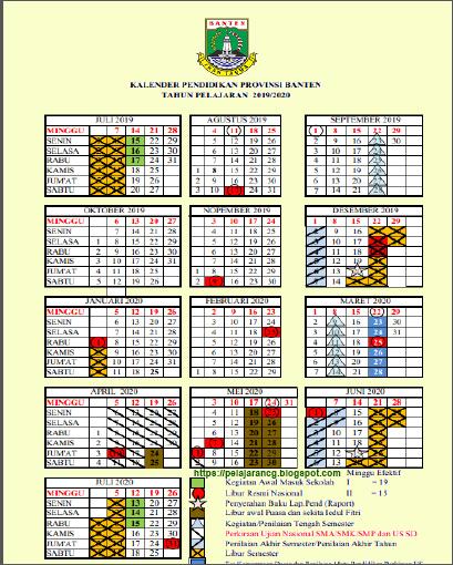 Kalender Pendidikan 2019/2020 Provinsi Banten