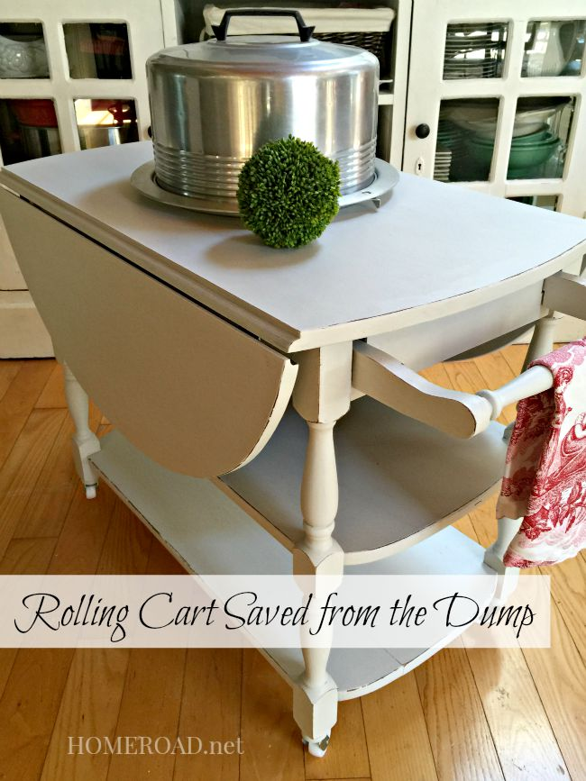 rolling cart with sides down and cake plate