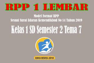 RPP 1 Lembar SD Kelas 1 Semester 2 Tema 7