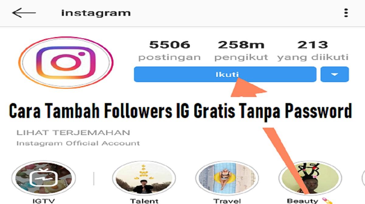 Cara Tambah Followers IG Gratis Tanpa Password