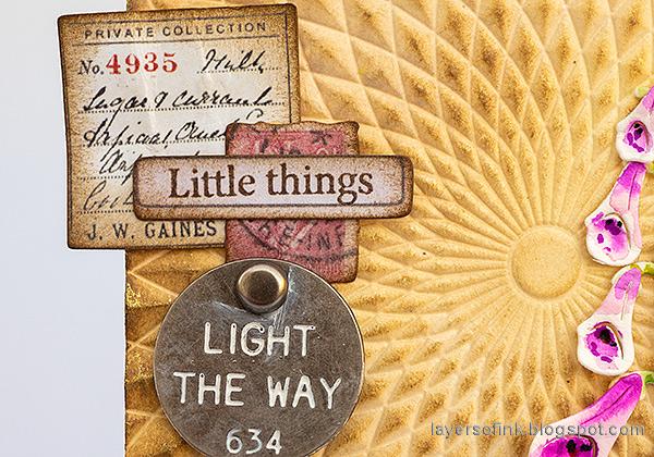 Layers of ink - Foxglove Tag Tutorial by Anna-Karin Evaldsson. Add ideaology ephemera.